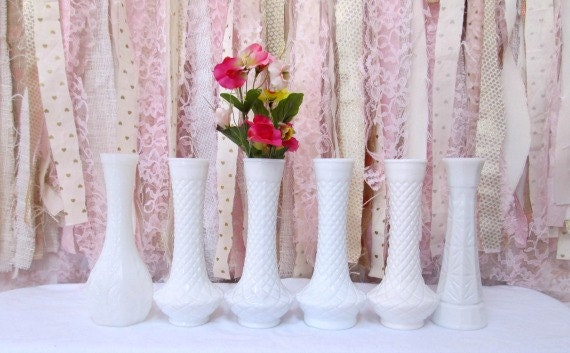 Milk Glass Vases 6 Large Tall Flower Milk Glass Vase Vintage