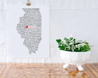 Illinois Illustration Print