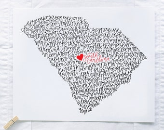 South Carolina Illustration Print