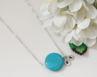 Turquoise Necklace. Personalized Initial Necklace. Bridesmaid Necklace. Summer Necklace. Mom Gift. Grandmother Gift.