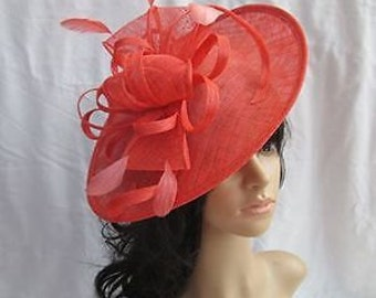 Coral Fascinator..Stunning  shaped Sinamay Fascinator Hat on a Headband