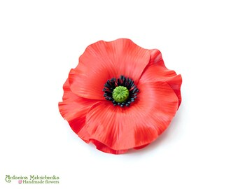 Brooch Poppy - Polymer Clay Flowers