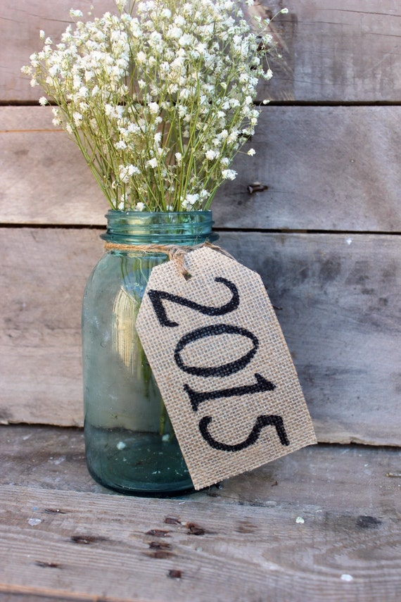2017 burlap table tags for 2015 graduation decoration ideas