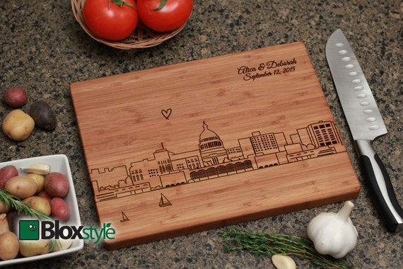 Madison Wisconsin Skyline Personalized Engraved Cutting Board