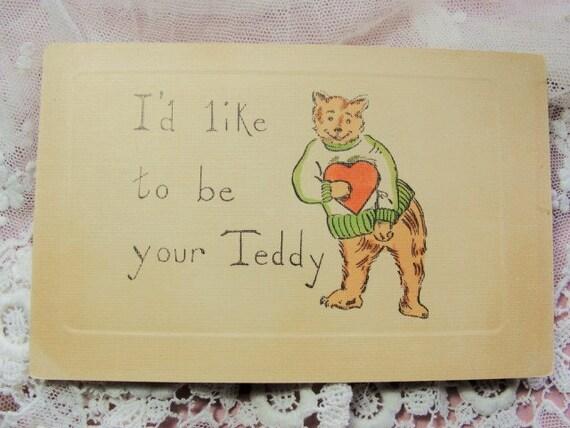1907 Vintage TEDDY BEAR VALENTINE Postcard
