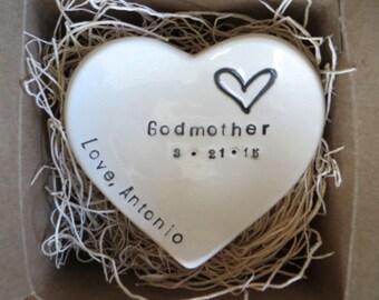 Godmother Gift, ring dish, CUSTOM heart ring holder, Gift from Godchild, Gift Boxed, Made to Order