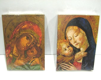 Pr Vintage Madonna & Child Icons , Maria Laach Benedictine Abbey , NOS Religious Icons Blessed Mother Infant Jesus , Gottesmutter Mit Kind