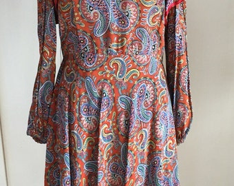 1970's Vintage Paisley Dress