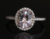Morganite Engagement Ring in 14k Rose Gold Morganite Oval 9x7mm and Diamond Halo Ring