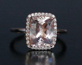 Pink Morganite Engagement Ring in 14k Rose Gold Morganite Cushion 10x8mm and Diamond Ring