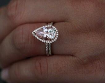 LIMITED TIME SALE Pear Morganite Engagement Ring Morganite