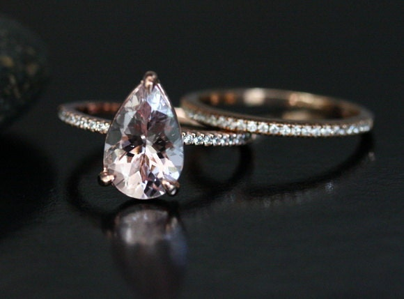 DOLLAR 200 DISCOUNT For Limited Time Morganite Bridal Ring Set