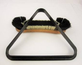 Billiards History - Pool History - A Large Black and White Bristled Brush and Black Rack - Accessories