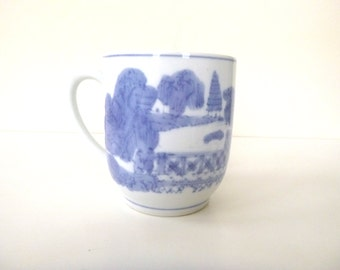 Vintage Ceramic Tea Cup -- Blue and White Mug with Chinese Landscape