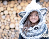 Knit Fox Hood,  Grey Chunky Knit Hood, Customized, Child, Infant, Toddler,Winter Hood, Hood,Grey Hood, Fox Hood-Custom Order Color and size