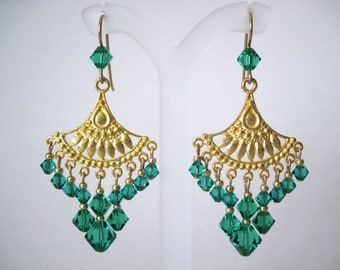 gold and light emerald crystal earrings