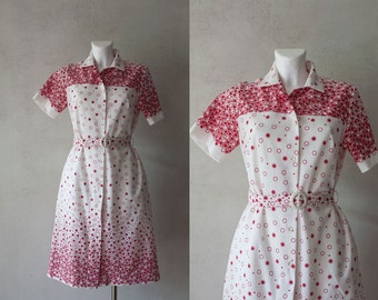 80s woman vintage  white red  dot print dress/ buttoned summer polyester every day dress/ S/M
