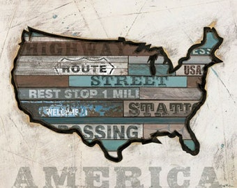 America Map Vintage Wall Art- American Byways USA art- Reclaimed wood look vintage art perfect for boy's rooms, man cave or nursery .