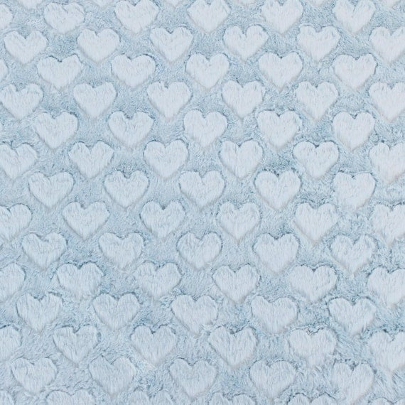 Baby blue heart cuddle minky fabric by the yard for costume for Baby fabric by the yard