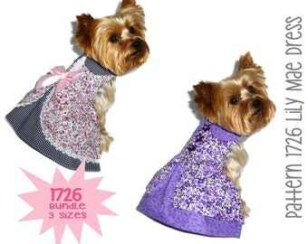 Lily Mae Dog Dress Pattern 1726 * Bundle 3 Sizes * Dog Clothes Sewing Pattern * Dog Harness Dress * Designer Dog Clothes * Dog Apparel