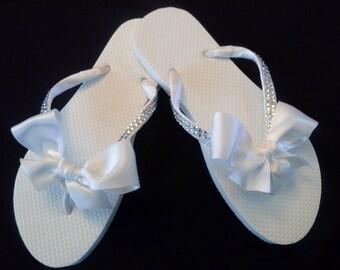 22a3f2900737 bridal flip flops with rhinestone strapslots of bling blinged flip flops  rhinestone bride flip flops