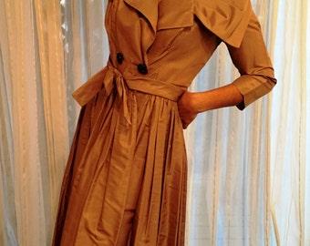Vintage Cafe Au Lait Soft Taffeta Belted Coat Dress with Ruched Portrait Collar