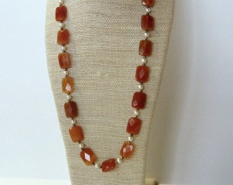 Faceted carnelian and pearl necklace