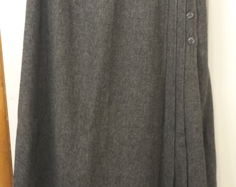 Vintage 1950 Grey Wool  Skirt with kick pleats