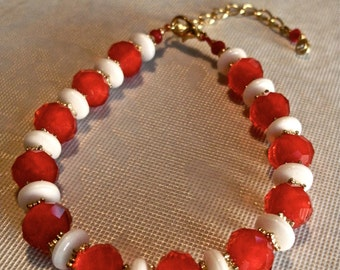 Red, White and Gold Bracelet