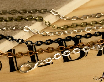 5- Rolo Style Link Chain Necklaces - 24 inch(60cm) 3mm Thick Rolo necklaces