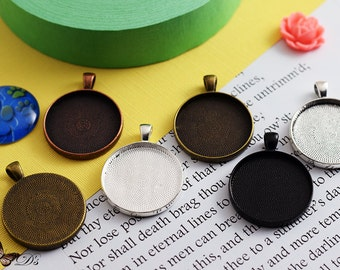 "25- 30mm (1.25"")  Blank Pendant Tray Cabochon Settings - 5 Colors to Choose from."