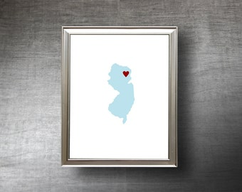 New Jersey Art 8x10 - 4 Color Choices - UNFRAMED Hand Cut Silhouette - New Jersey Print - Personalized Name or Text Optional