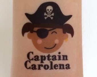 12 Custom Pirate Temporary Tattoos