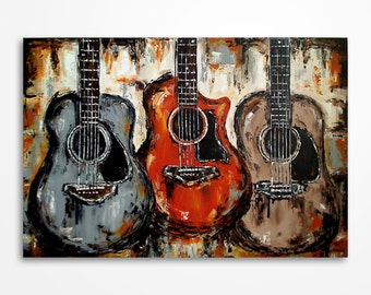 Acoustic guitar painting Music art Rustic decor Guitar Art Original orange brown grey black guitar painting on canvas - MADE TO ORDER