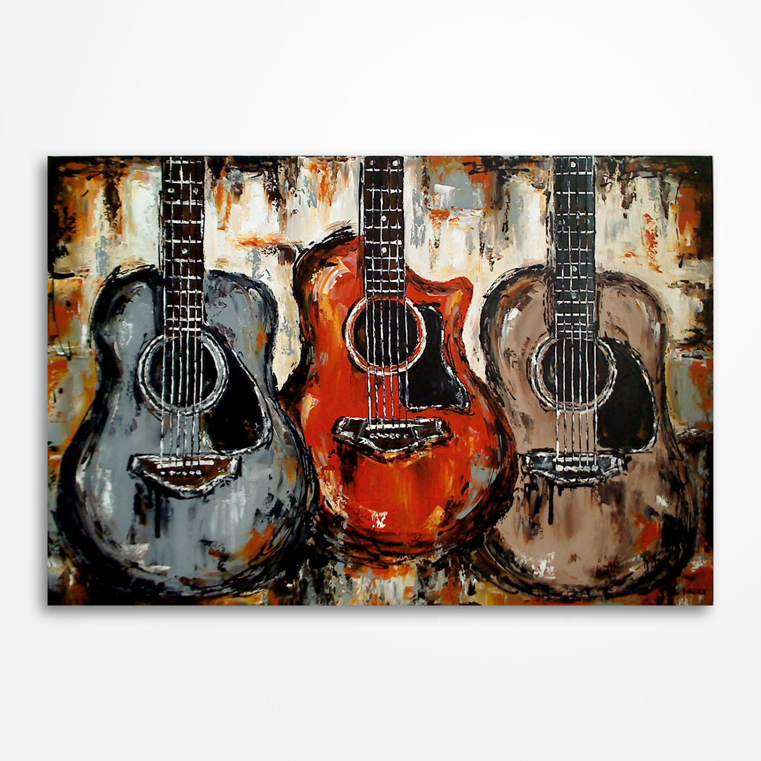 Acoustic guitar painting music art rustic decor guitar art for Acoustic guitar decoration