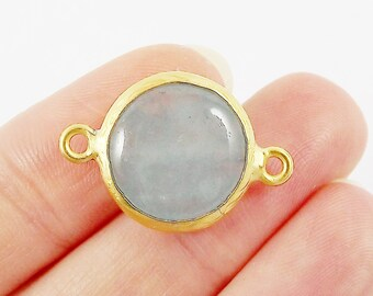 16mm Pale Aqua Blue Smooth Jade Connector- Gold plated Bezel - 1pc