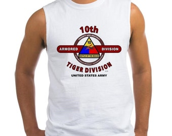 "10th Armored Division * World War II  ""Tiger Division  R ""  Sleeveless/Tank Top Shirt."