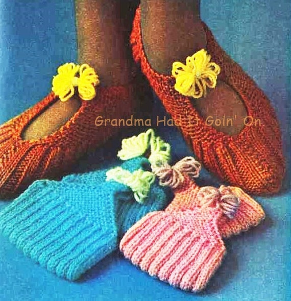 KNITTING PATTERN Slipper Boots Vintage Pixie Boots
