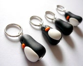 Penguin knitting stitch markers, snagless knitting, polymer clay, UK seller