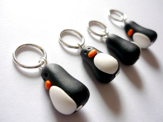 Knitting Markers Uk : Penguin knitting stitch markers snagless polymer