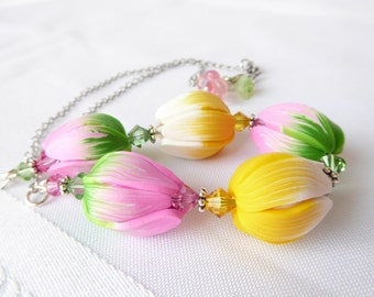 Tulip Garden Necklace; polymer clay necklace; garden necklace; flower necklace; floral necklace