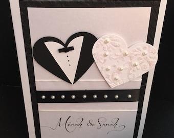Bride & Groom Heart Wedding Card