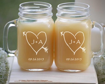 Personalized Wedding Gift, Mason Jar Mugs, Engagement Gift, Coffee Mugs, Mr and Mrs, Anniversary Gift, Engraved Beer Mugs, Bride and Groom