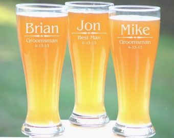 Personalized Groomsmen Gifts, Beer Glasses, Wedding Toasting Glasses, Pint Glasses, 3 Custom Beer Mugs, Gifts for Groomsmen, 16oz Glassware