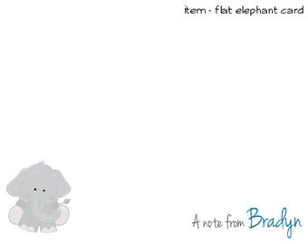 Baby Elephant Personalized Note cards Stationery Set of 10 flat or folded notecards
