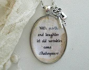 Shakespeare jewellery, quote necklace, book lover gift