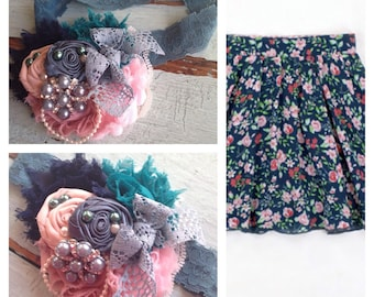 Pink, Teal, Blue, Rosette Fabric Flowers, Girls Headband, Baby Headband, M2M Matilda Jane, Newborn, M2M Roses are Red, Hair Accessories, Bow