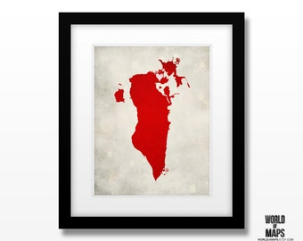 Bahrain Map Print - Home Town Love - Personalized Art Print Available in Different Sizes & Colors