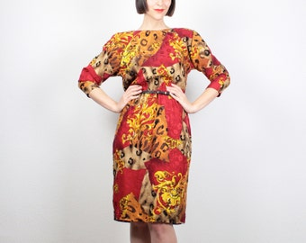 Vintage 80s Dress Midi Dress SILK Baroque Print Dress 1980s Dress Wiggle Dress Red Gold Mustard Leopard Print Dress Secretary Dress M Medium