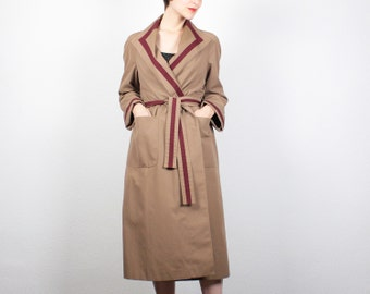 Vintage 70s Etienne Aigner Trench Coat Camel Tan Burgundy Striped Designer Trench Coat Belted Trench Coat Jacket Raincoat S Small M Medium 8